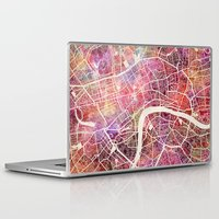 london map Laptop & iPad Skins featuring London map by MapMapMaps.Watercolors