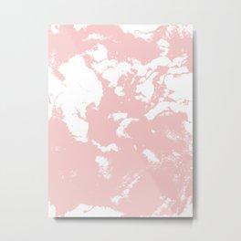 Marble pastel pink 2 Suminagashi watercolor pattern art pisces water wave ocean minimal design Metal Print