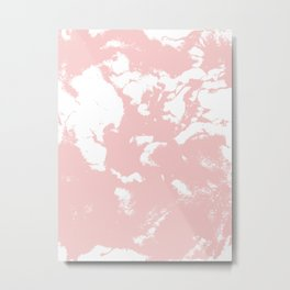 Marble pastel pink 2 Suminagashi watercolor pattern art pisces water wave ocean minimal design Metal Print
