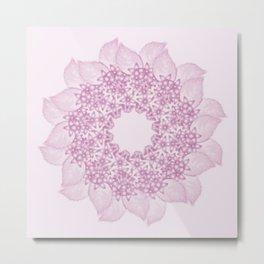 Pink butterflies and flowers mandala Metal Print