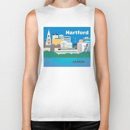 Hartford, Connecticut - Skyline Illustration by Loose Petals Biker Tank
