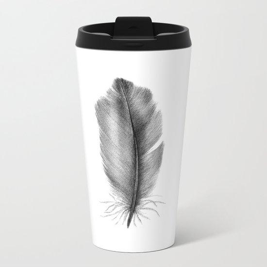 Blue Jay Feathers Metal Travel Mug