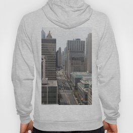 Chicago City Street Tilt Shift Color Photograph Hoody