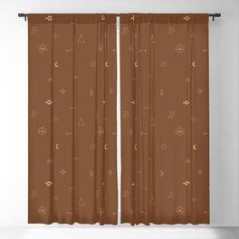 Southwestern Symbolic Pattern in Rust & Tan Blackout Curtain