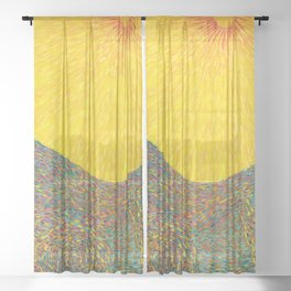 Here Comes the Sun - Van Gogh impressionist abstract Sheer Curtain