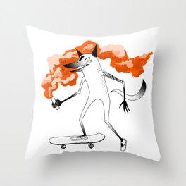 Fox Skateboarder Red Throw Pillow