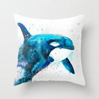 orca Throw Pillows featuring Orca  by Slaveika Aladjova