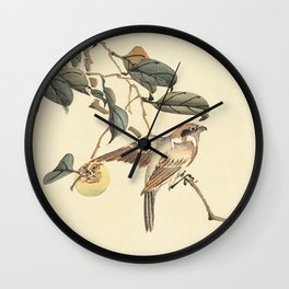 Vintage brown ivory bird floral tree branch Wall Clock
