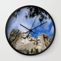 rushmore Wall Clocks featuring Mount Rushmore by Christiane W. Schulze Art and Photograph