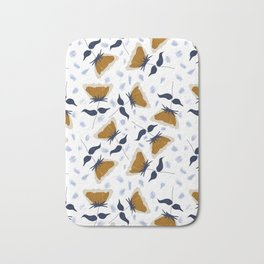 Gold and White Flowers with Blue Bath Mat
