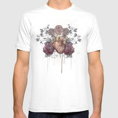 Flowers from my heart MEDIUM White Mens Fitted Tee