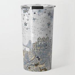 San Francisco skyline old map Travel Mug