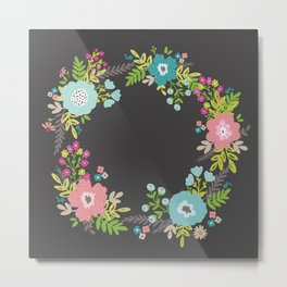 Wreath with florals in dark grey background Metal Print