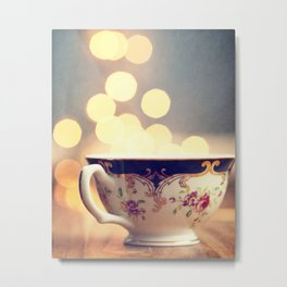 Blue and Gold Steaming Cup Metal Print