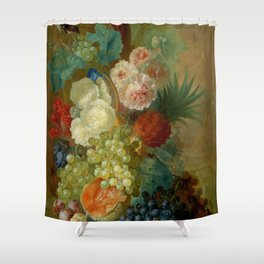 """Jan van Os """"Still life of peonies, a cock's comb and morning glories"""" Shower Curtain"""