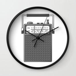 Retro portable radio. Monochrome vintage style illustration Wall Clock