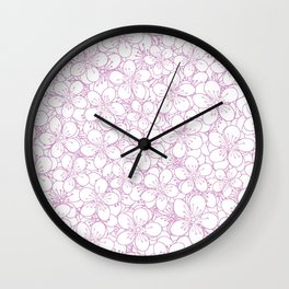 Cherry Blossom Pink Outline - In Memory of Mackenzie Wall Clock