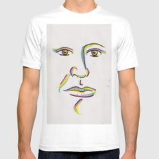 Colorful MEDIUM White Mens Fitted Tee