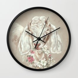 Goat with Floral Wreath by Debi Coules Wall Clock