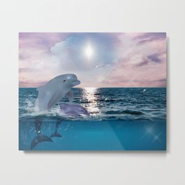 Sparkly Dolphin Ocean 90s Graphic Metal Print