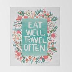Eat Well, Travel Often Bouquet Throw Blanket