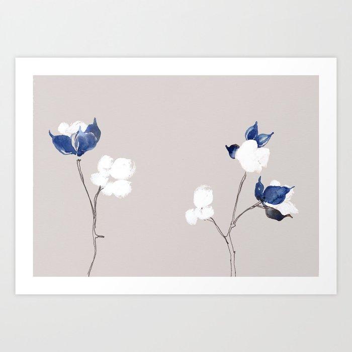 Cotton Fiber Plant Illustration Art Print