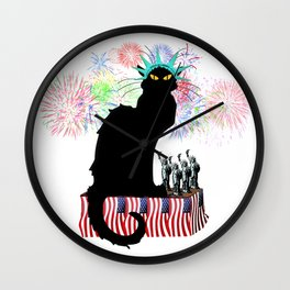 Lady Liberty - Patriotic Le Chat Noir Wall Clock
