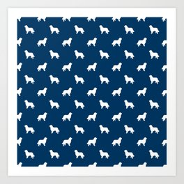 Bernese Mountain Dog pet silhouette dog breed minimal navy and white pattern Art Print