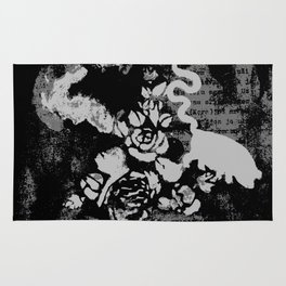 text, roses, deer and pigsnake Rug