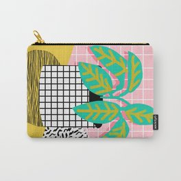Get Real - potted plant throwback retro neon 1980s style art print minimal abstract grid lines shape Carry-All Pouch