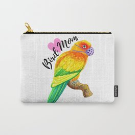Parrot Bird Mom - Sun Conure with Face Mask Watercolor Carry-All Pouch