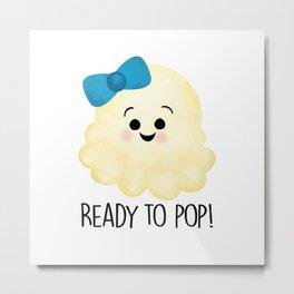 Ready To Pop - Popcorn Blue Bow Metal Print