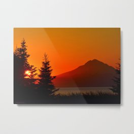 Orange Sky - Mt. Redoubt Metal Print