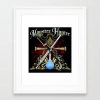 monster hunter Framed Art Prints featuring Monster Hunter II by Egregore Design