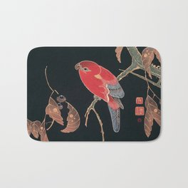 Red Parrot on the Branch of a Tree by Ito Jakuchu, 1900 Bath Mat