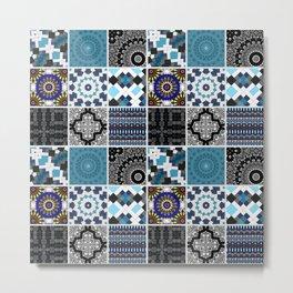 Patchwork . Blue , black and grey . Metal Print