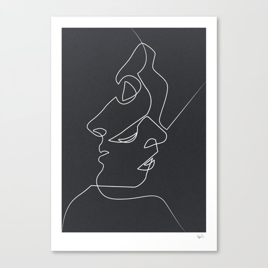 Drawing Lines Using Canvas : Close noir canvas print by quibe society