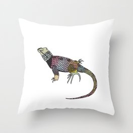 Rainbow Lizard Throw Pillow