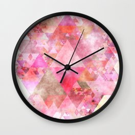 Pink triangles - Abstract elegant watercolor pattern Wall Clock