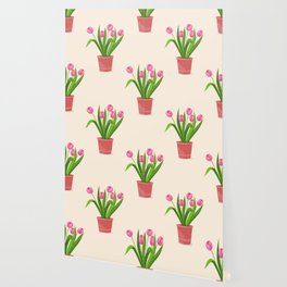 pink tulips in the pot Wallpaper