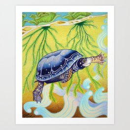 Swimming Spotted Turtle, Turtle Art Art Print