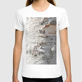 Full frame of birch bark tree detailed texture in close-up T-shirt