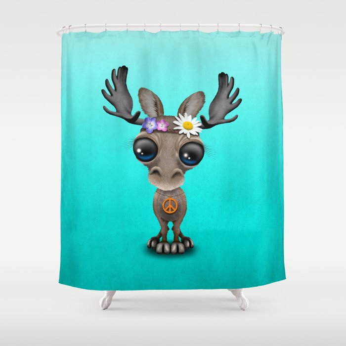 Cute Baby Moose Hippie Shower Curtain