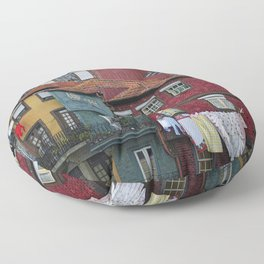 Colorful houses. Porto, Portugal. Floor Pillow