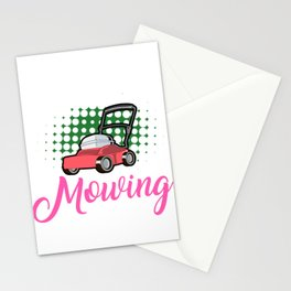 Womens Lawn Mowing Gift Landscaping Gardening Landscaper Design Stationery Cards