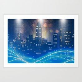 Neon city skyline by night metallic look print Art Print