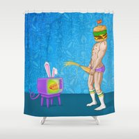 junk food Shower Curtains featuring FOOD PORN by GWA Art Design