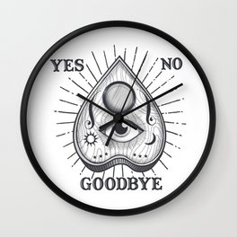 Yes No Goodbye Magic Ouija Vintage Planchette Design Wall Clock