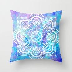 Mandala Pink Lavender Aqua Galaxy Space Throw Pillow