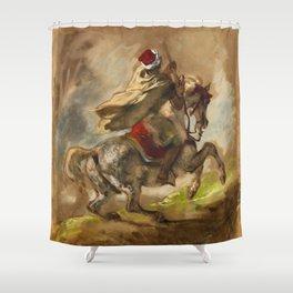 """Eugène Delacroix """"Cavalier Arabe Galopant"""" Shower Curtain"""